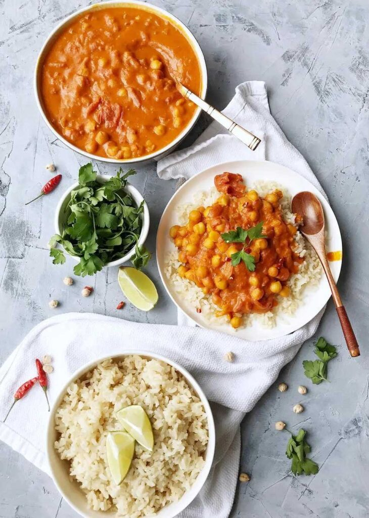 Indian Chickpea Curry With Brown Rice