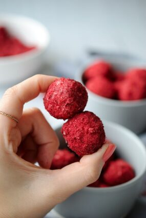 Coconut Balls With Freeze Dried Raspberries