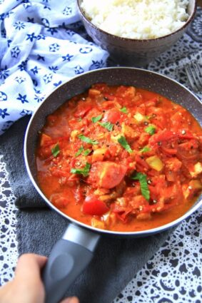 Healthy Tofu Tomatoes With White Rice